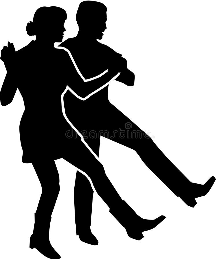 Ligne couple de danse illustration stock