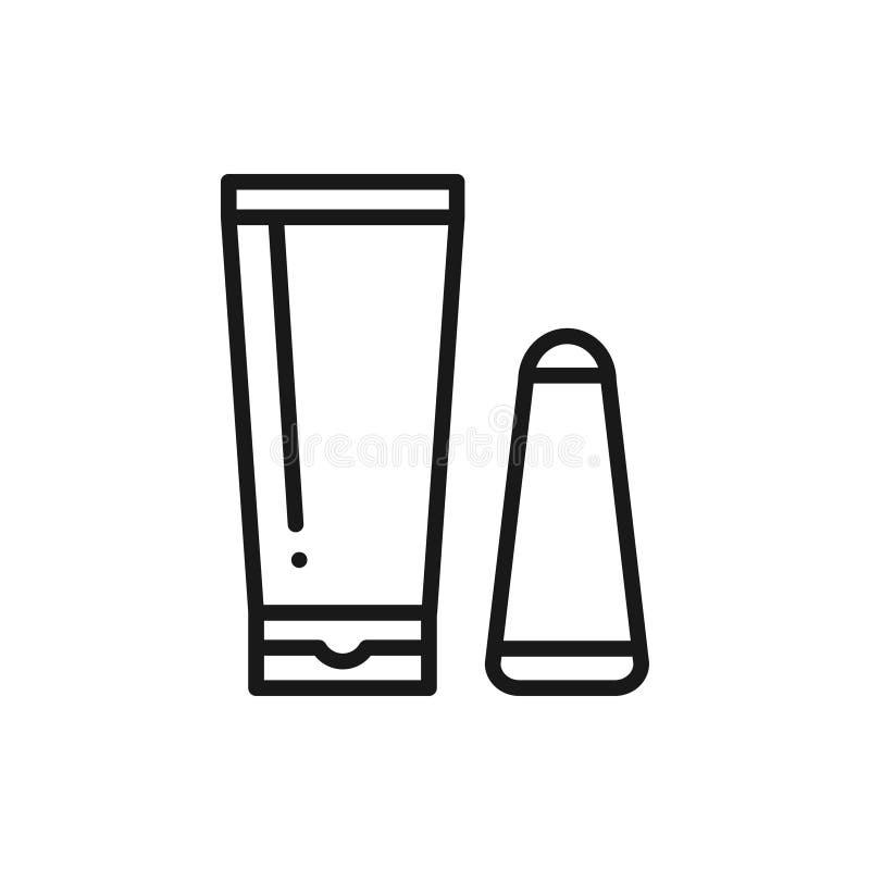 Ligne crème dépilatoire icône Méthode d'épilation Dépilage Grattoir de crème et de spatule pour l'application illustration libre de droits