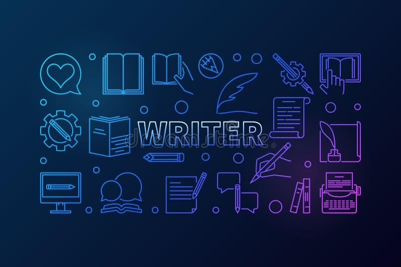 Ligne créative illustration ou bannière horizontale de vecteur d'auteur illustration libre de droits