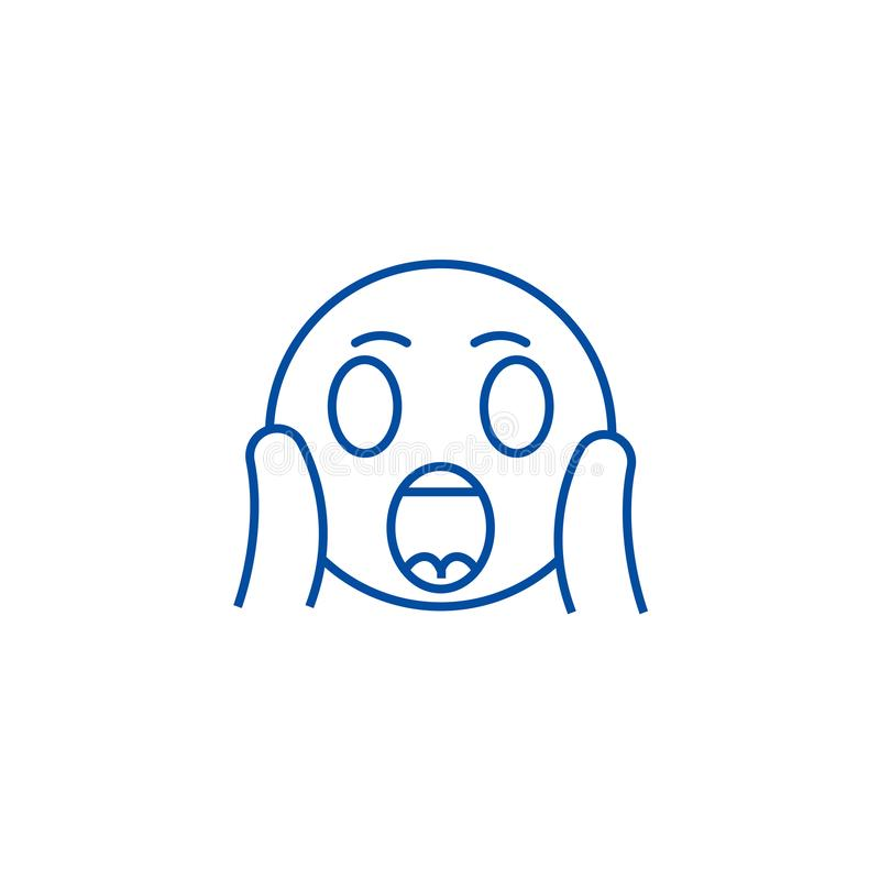Ligne criarde concept d'emoji de visage d'icône Symbole plat criard de vecteur d'emoji de visage, signe, illustration d'ensemble illustration stock