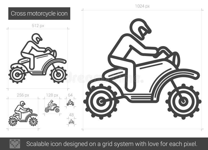 Ligne croisée icône de moto illustration stock