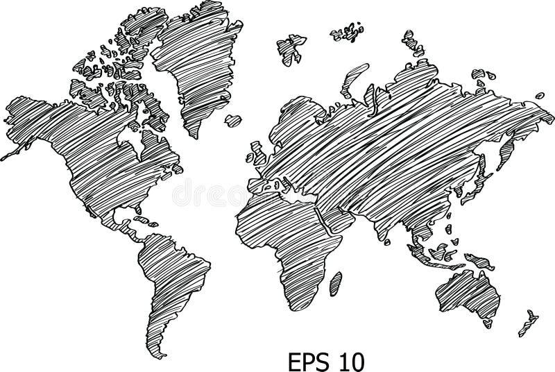Ligne croquis de vecteur de globe de carte du monde vers le haut d'illustrateur illustration de vecteur