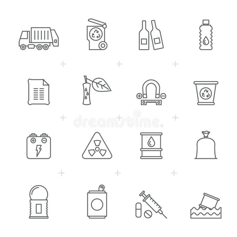 Ligne déchets et icônes de déchets illustration de vecteur