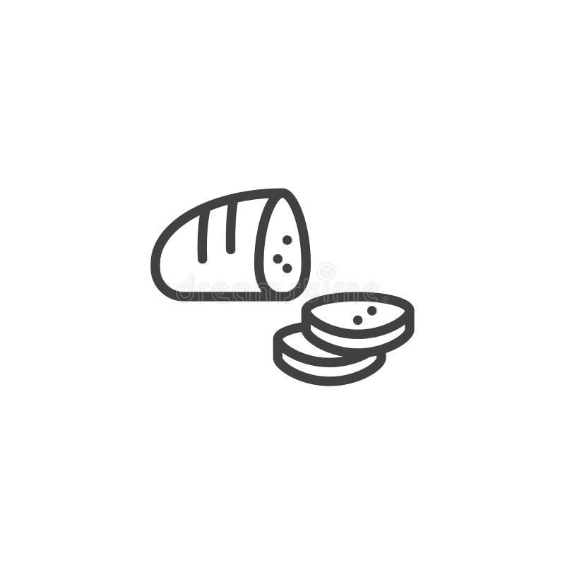 Ligne découpée en tranches icône de miche de pain illustration de vecteur