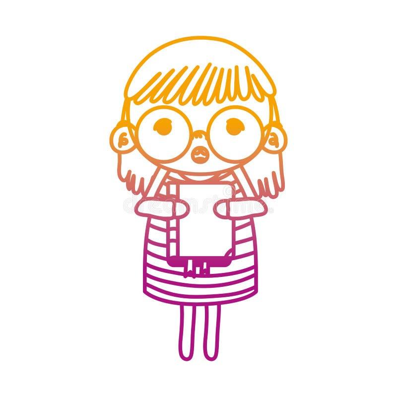 Ligne dégradée enfant de fille avec les verres et le livre d'éducation illustration libre de droits