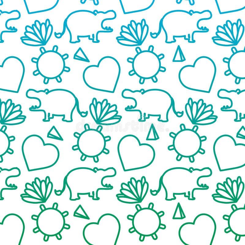 Ligne dégradée hippopotame avec les plantes tropicales et le fond du soleil illustration stock
