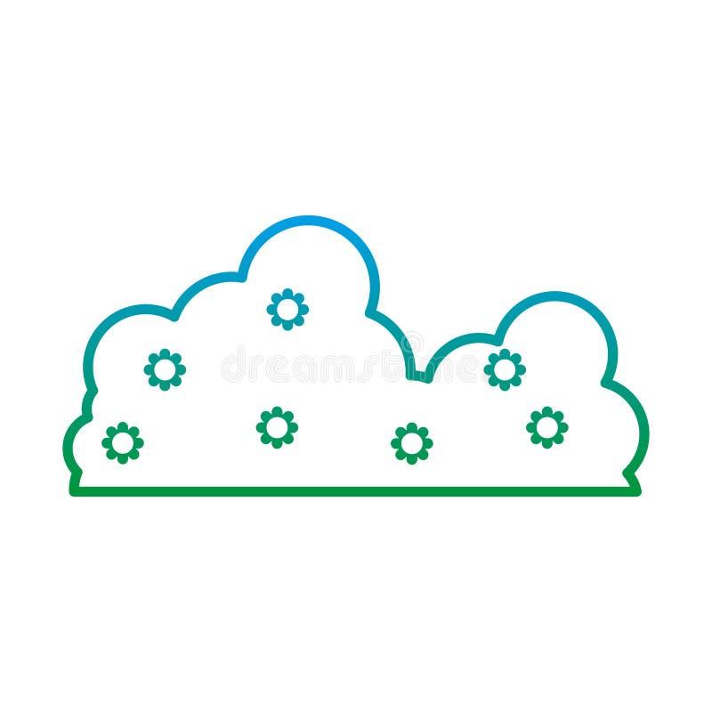 Ligne dégradée icône pelucheuse de nuage de beauté de nature illustration de vecteur