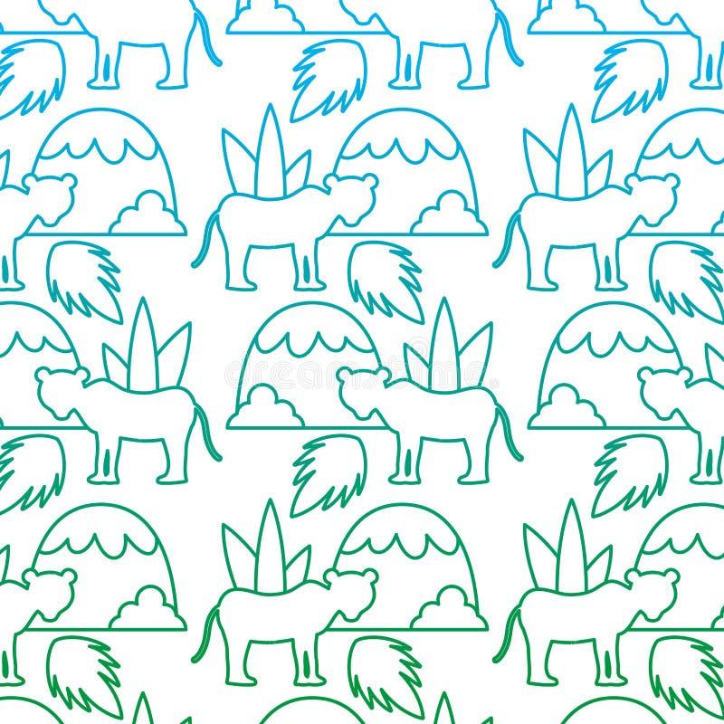 Ligne dégradée lion avec le fond de feuilles et de montagnes d'usine illustration libre de droits