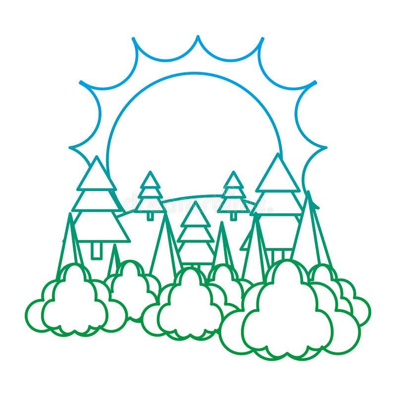 Ligne dégradée pin de péché de nature avec des nuages illustration stock