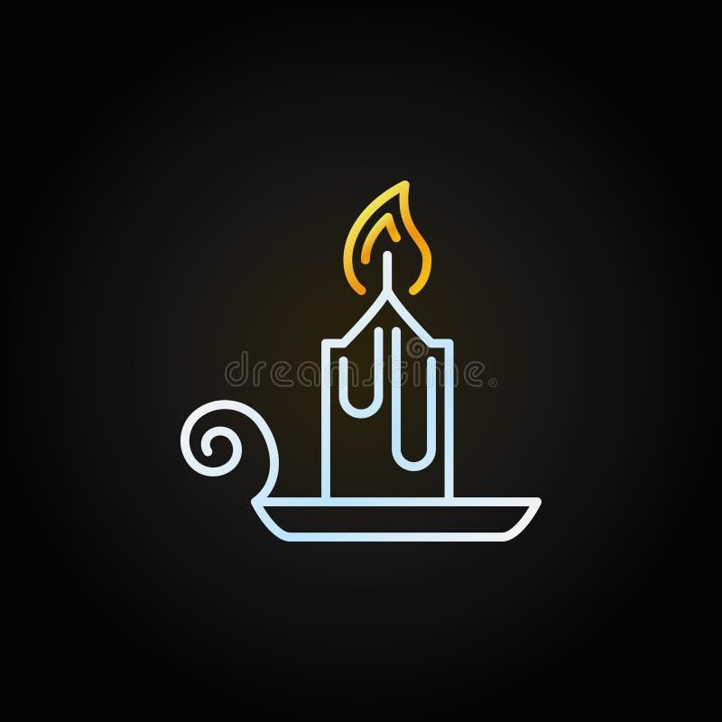 Ligne démodée icône de bougie de Noël de vecteur illustration stock
