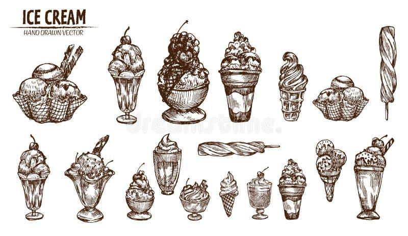 Ligne détail de Digital crème glacée d'art dans le cône illustration libre de droits