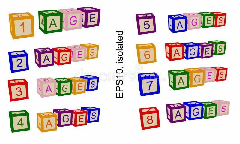 Ligne d'âge, nombres d'âges Illustration pour des livres ou des affiches photo stock