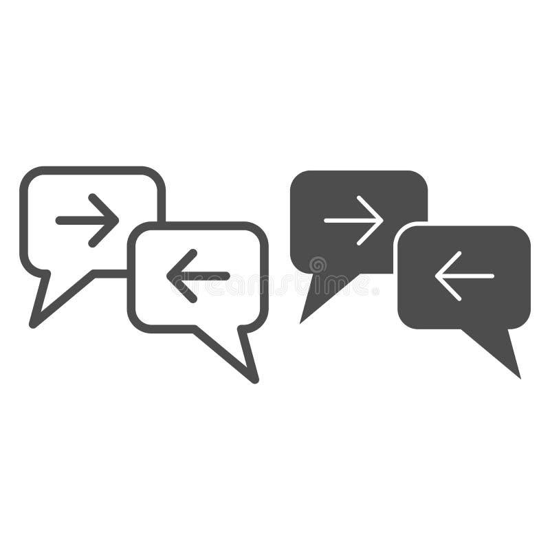 Ligne d'échange de message et icône de glyph Illustration de vecteur de dialogue d'isolement sur le blanc Conception de style d'e illustration stock