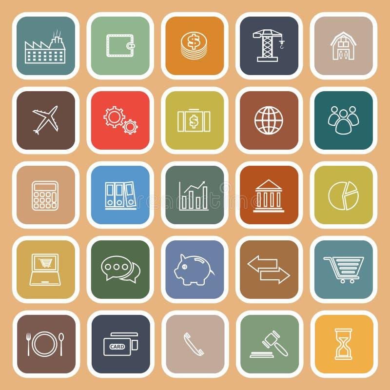 Ligne d'économie icônes plates sur le fond brun illustration stock