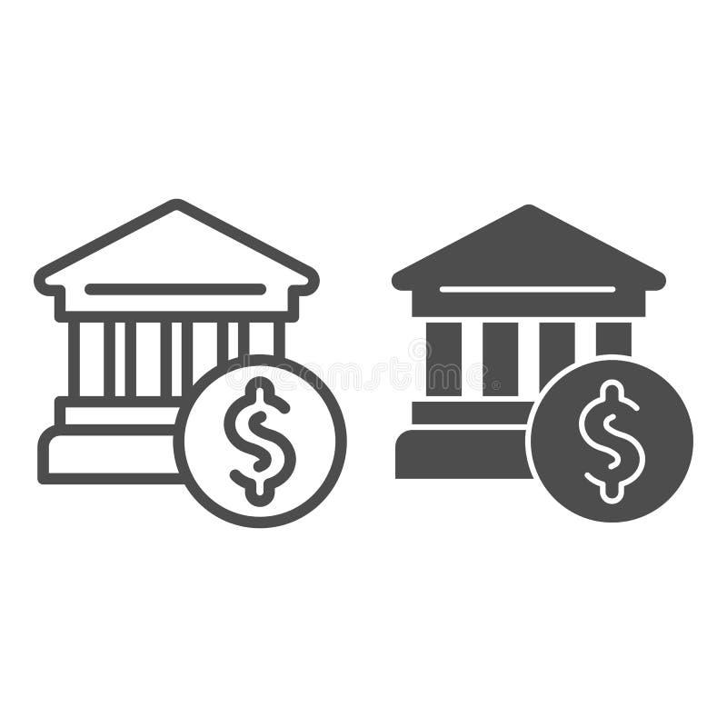 Ligne d'édifice bancaire et icône de glyph Illustration de vecteur de banque et de dollar d'isolement sur le blanc Style d'ensemb illustration stock
