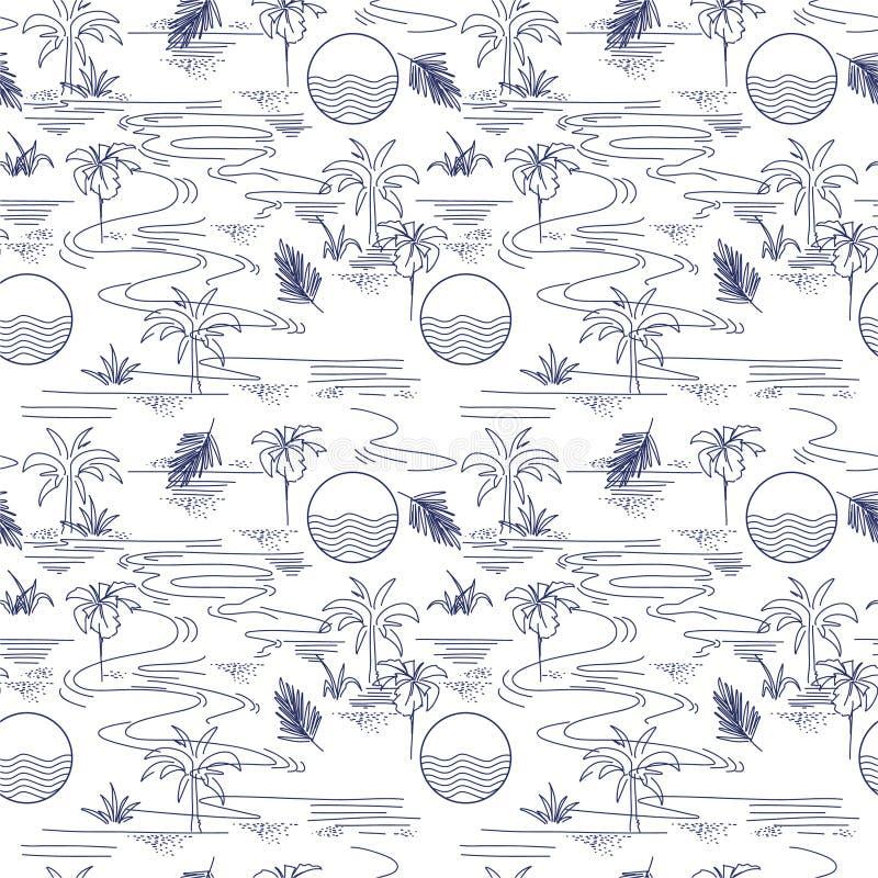 Ligne d'été modèle sans couture d'humeur tropicale minimale moderne d'île sur la conception de vecteur pour la mode, le tissu, le illustration stock