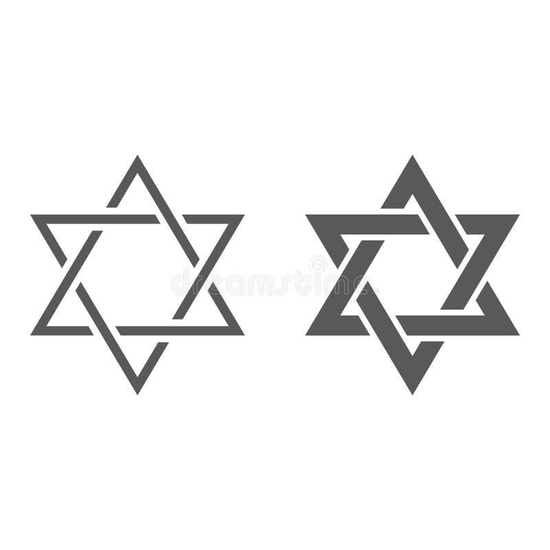 Ligne d'étoile de David et icône de glyph, l'Israël et juif, signe de hexagram, graphiques de vecteur, un modèle linéaire sur un  illustration libre de droits