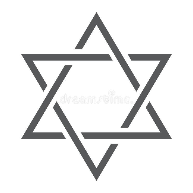 Ligne d'étoile de David icône, Israël et juif, signe de hexagram, graphiques de vecteur, un modèle linéaire sur un fond blanc illustration de vecteur