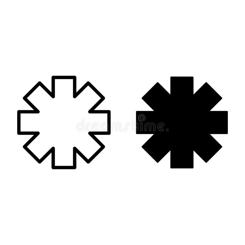 Ligne d'étoile de secours et icône de glyph Illustration de vecteur de signe d'ambulance d'isolement sur le blanc Style médical d illustration de vecteur