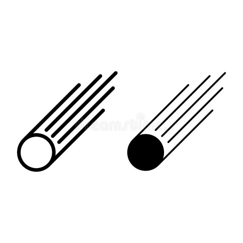 Ligne d'étoile filante et icône de glyph Illustration de vecteur d'étoile filante d'isolement sur le blanc Conception de style d' illustration stock
