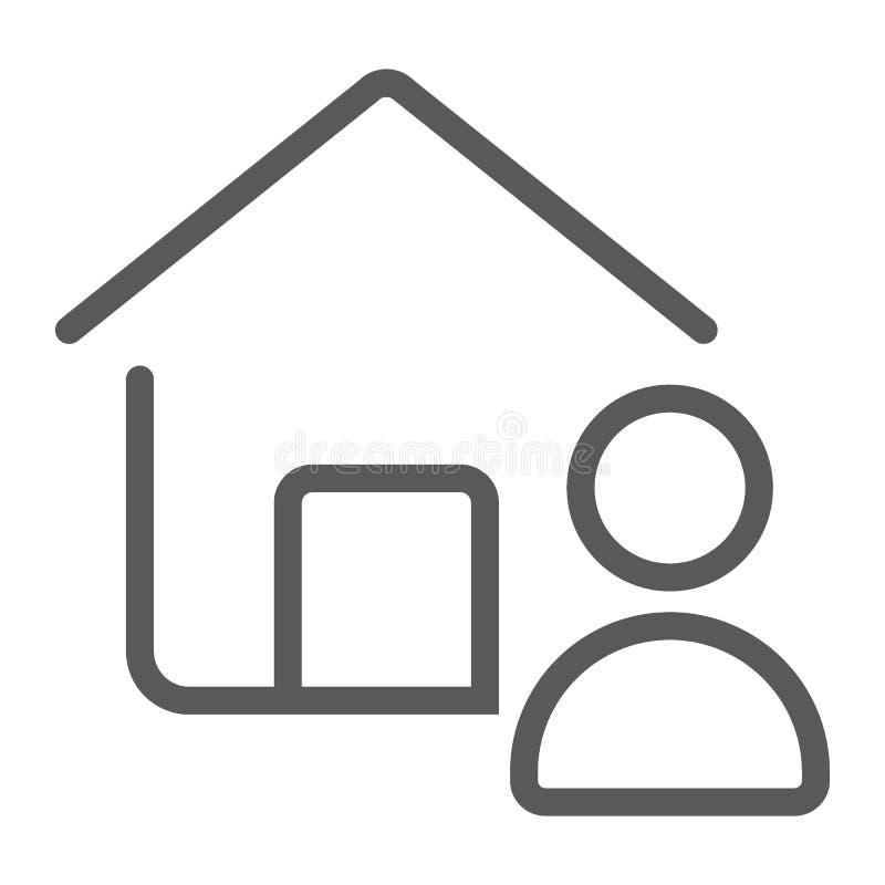 Ligne d'agent de Real Estate icône, immobiliers et maison illustration libre de droits
