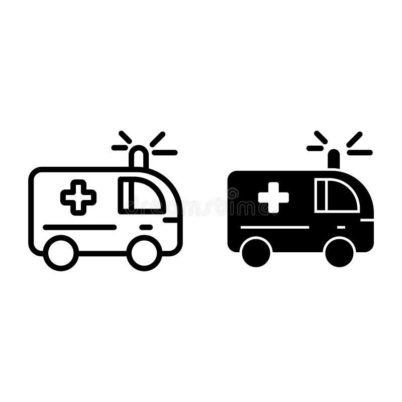 Ligne d'ambulance et icône de glyph Illustration médicale de vecteur de voiture d'isolement sur le blanc Conception automatique d illustration libre de droits