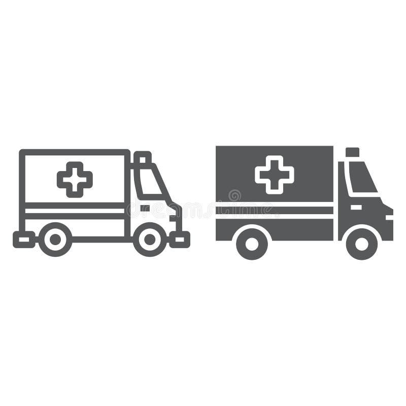 Ligne d'ambulance et icône de glyph, urgence illustration de vecteur