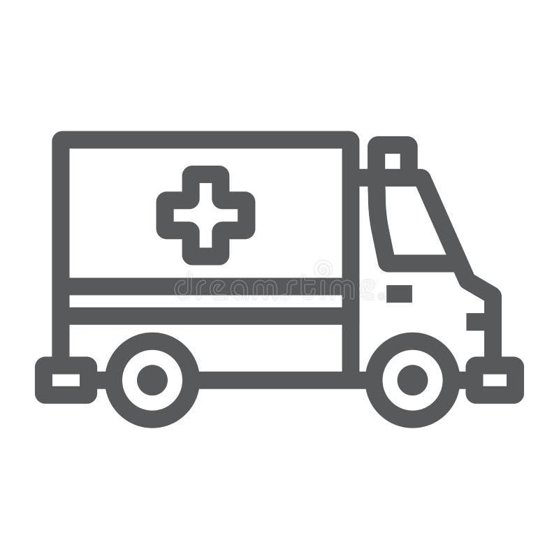 Ligne d'ambulance icône, urgence et hôpital illustration de vecteur