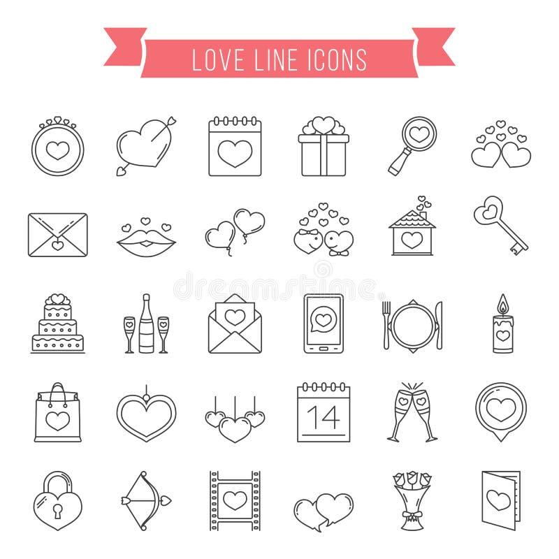 Ligne d'amour icônes illustration stock