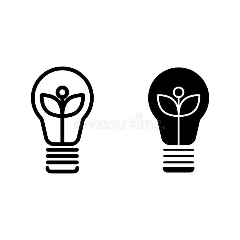 Ligne d'ampoule et icône écologiques de glyph Illustration de vecteur de lampe d'Eco d'isolement sur le blanc Style d'ensemble d' illustration stock