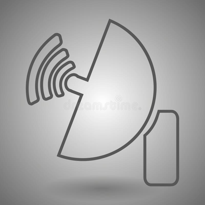 Ligne d'antenne parabolique de radar illustration d'icône sur le fond gris illustration stock