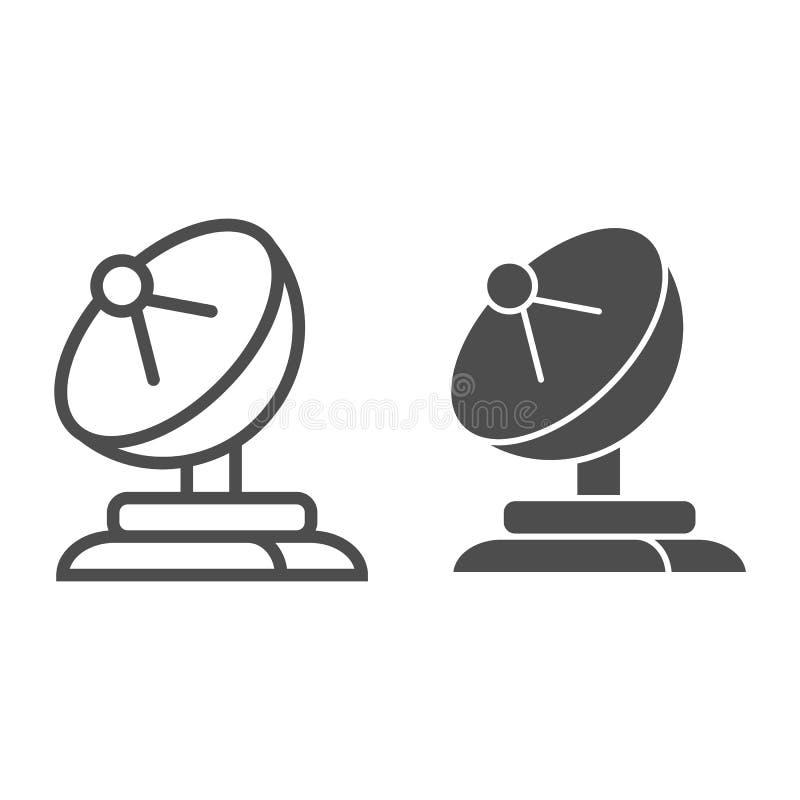 Ligne d'antenne parabolique et icône de glyph Illustration de vecteur d'antenne d'isolement sur le blanc Conception de style d'en illustration libre de droits