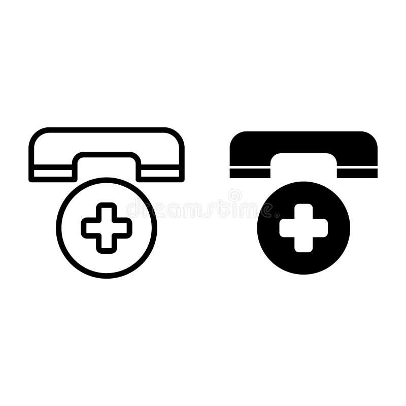 Ligne d'appel d'urgence et icône de glyph Illustration de vecteur de symbole de téléphone d'ambulance d'isolement sur le blanc Té illustration stock
