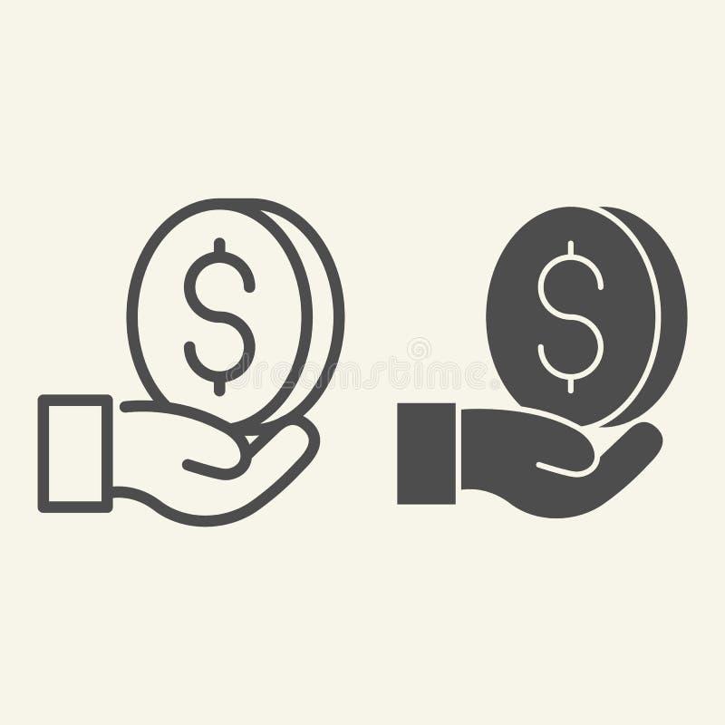 Ligne d'argent et icône disponibles de glyph Dollar dans l'illustration de vecteur de paume d'isolement sur le blanc Conception d illustration stock