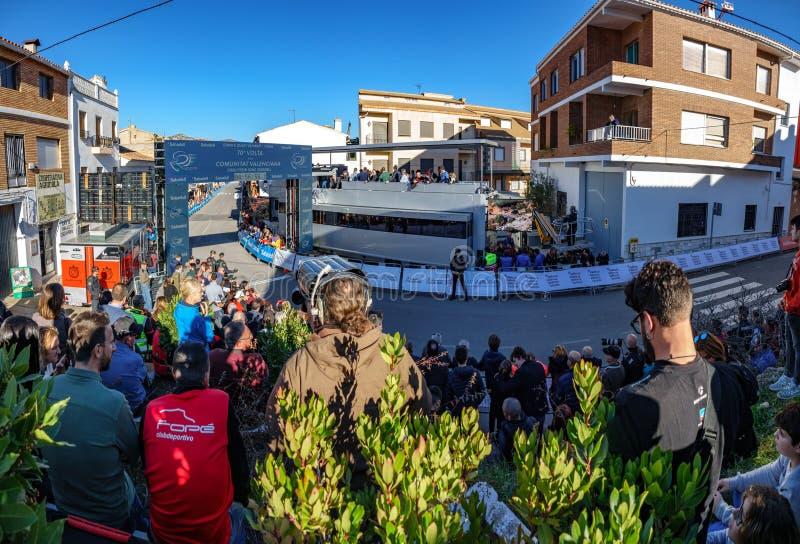 Ligne d'arrivée de Chera pour la visite de recyclage Valencian photos libres de droits