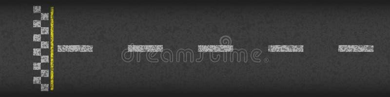 Ligne d'arrivée vue supérieure de emballage de fond Conception d'art Texturisé grunge sur la route goudronnée Graphique abstrait  illustration stock