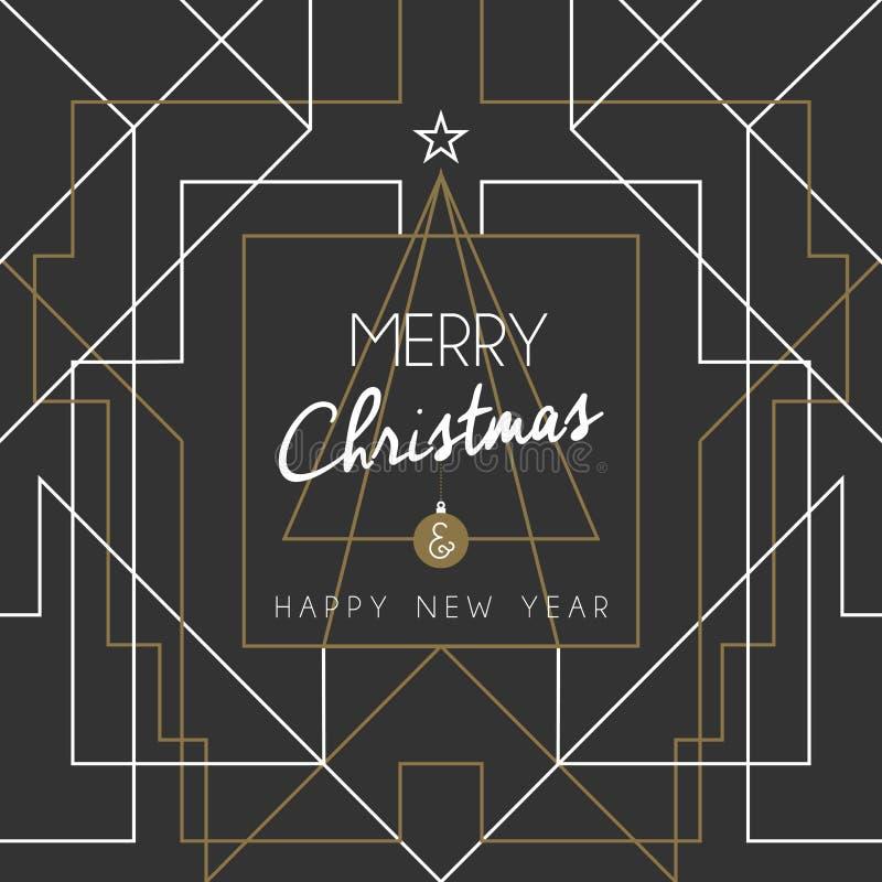 Ligne d'art déco d'arbre de bonne année de Joyeux Noël illustration libre de droits