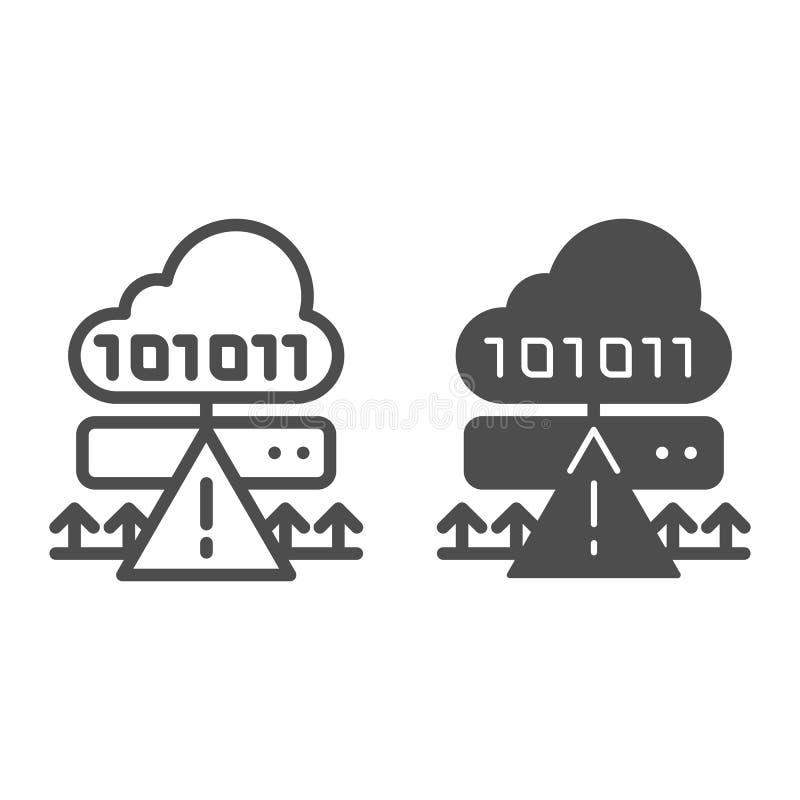 Ligne d'attaque de cyber de nuage et icône de glyph Illustration de vecteur d'entaille de serveur de Ddos d'isolement sur le blan illustration stock