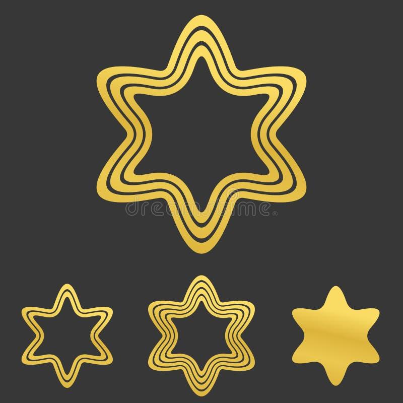 Ligne d'or ensemble de conception de logo de hexagram illustration stock