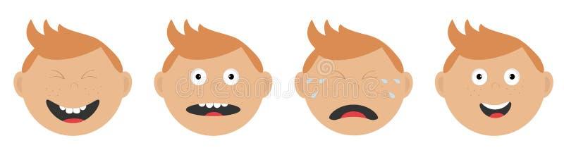 Ligne d'ensemble de visage de bébé garçon Différentes émotions Pleurant, criant, heureux, souriant, chef étonné et riant, larmes  illustration libre de droits