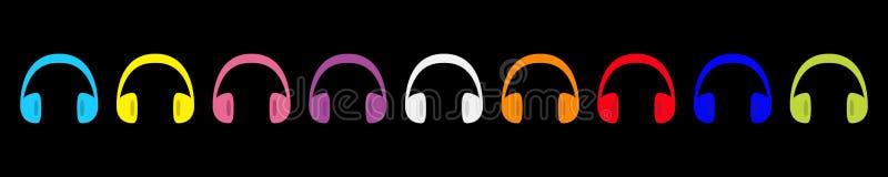 Ligne d'ensemble d'icône d'écouteurs d'écouteurs Silhouette colorée d'arc-en-ciel Carte de musique Style plat de conception Fond  illustration stock