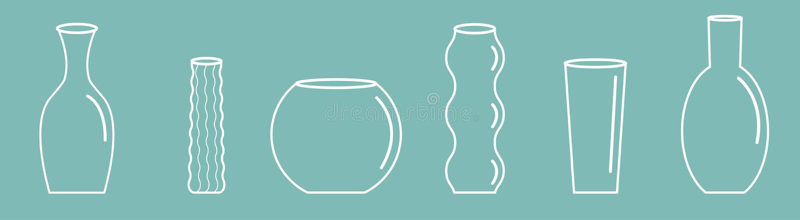 Ligne d'ensemble d'icône d'ensemble de vase Conception plate de poterie de fleur de fond bleu en verre en céramique de décoration illustration stock