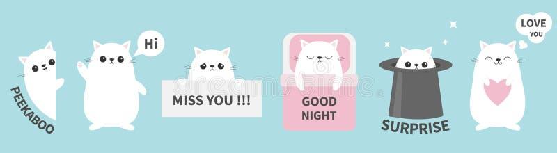 Ligne d'ensemble d'ic?ne d'emoji d'?motion d'autocollant de chaton de chat Mlle vous Salut La bonne nuit, vous aiment Visage prin illustration libre de droits