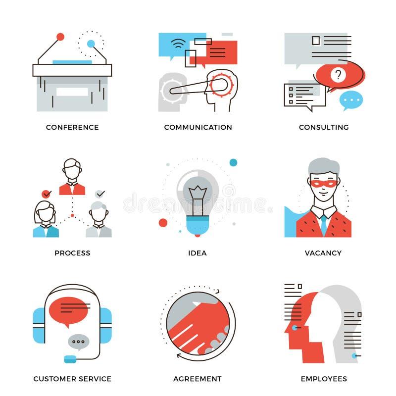 Ligne d'entreprise icônes d'éléments de profession réglées illustration de vecteur