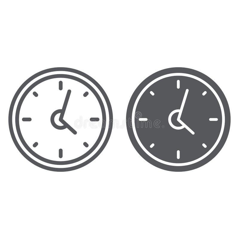 Ligne d'horloge et icône de glyph, heure et temps, signe de montre de mur, graphiques de vecteur, un modèle linéaire sur un fond  illustration stock