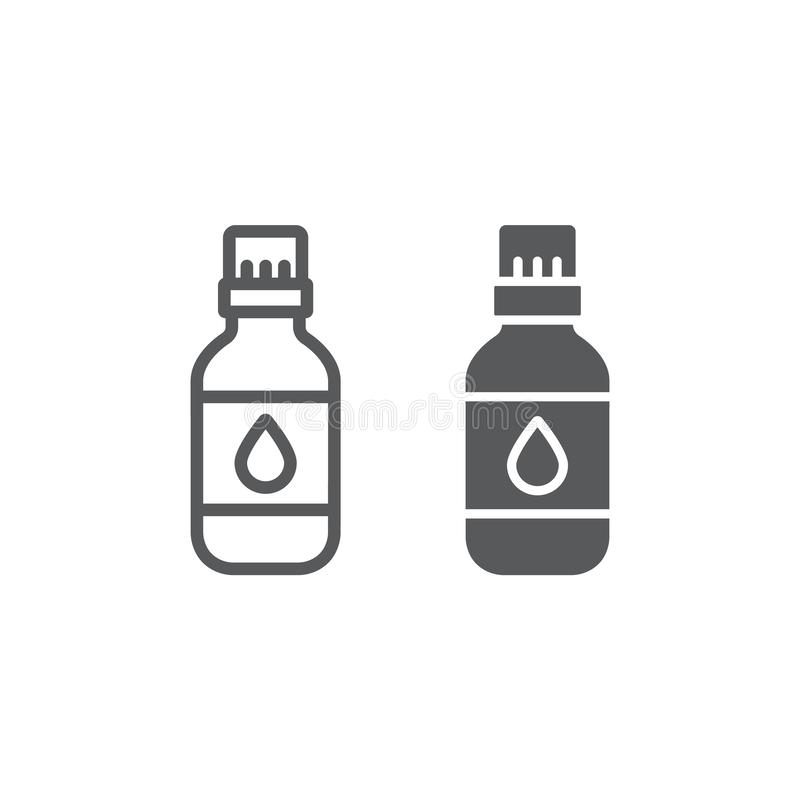 Ligne d'huile essentielle et ic?ne de glyph, aromatherapy et cosm?tique, signe aromatique d'huile, graphiques de vecteur, un mod? illustration libre de droits
