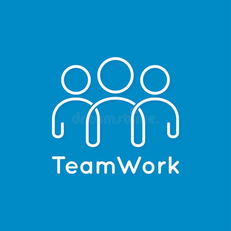 Ligne d'icône de travail d'équipe concept d'affaires sur le fond bleu illustration libre de droits