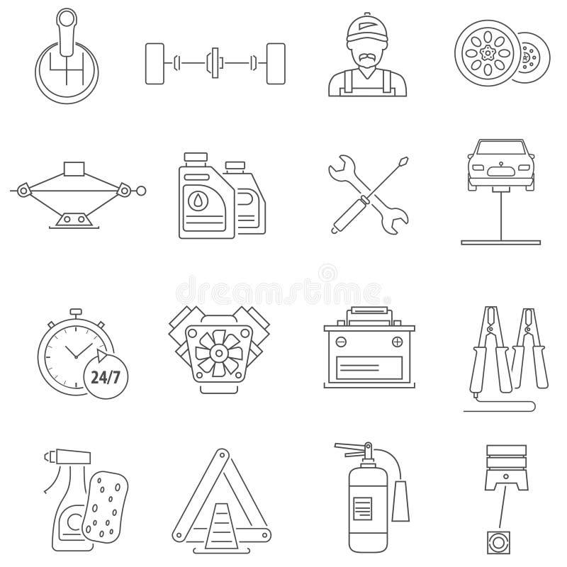 Ligne d'icônes de service de voiture illustration de vecteur