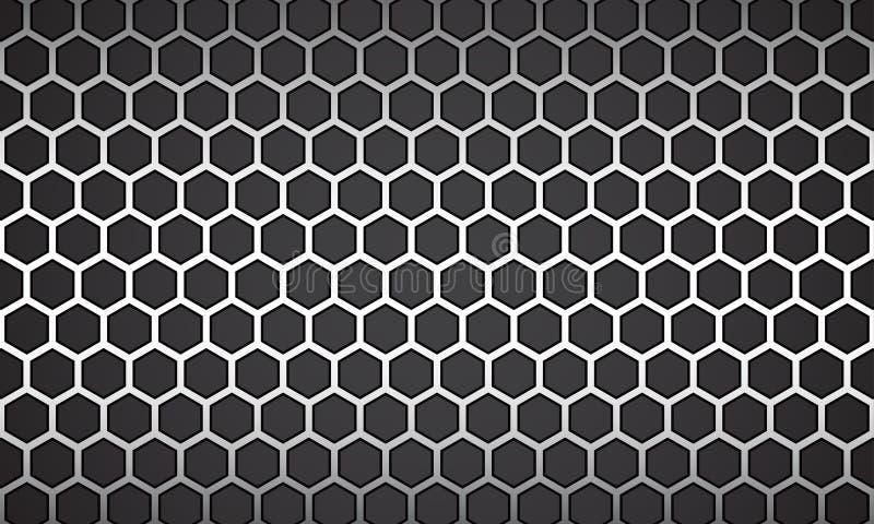 Ligne d'illustration de vecteur hexagone blanc avec le fond noir illustration de vecteur