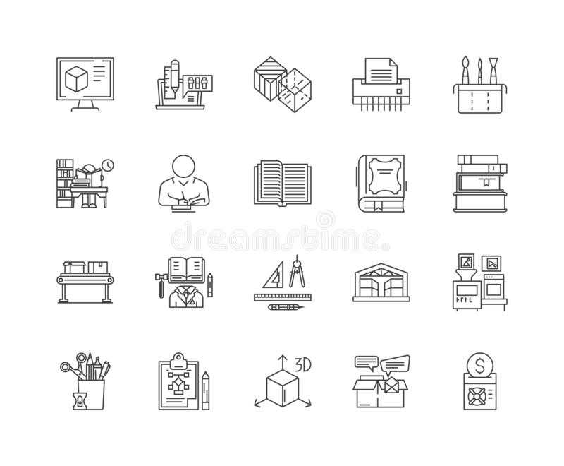 Ligne d'impression de livre icônes, signes, ensemble de vecteur, concept d'illustration d'ensemble illustration de vecteur